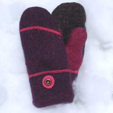 Recycled Wool Mittens –Wine