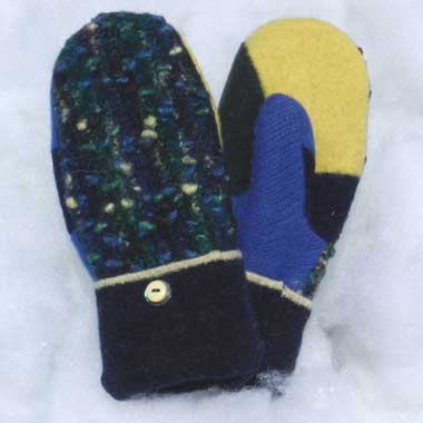 Recycled Wool Mittens – Navy