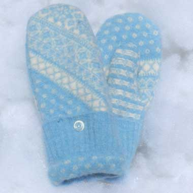 Recycled Wool Mittens –  Light Blue With Blue and White Design