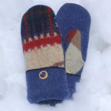 Recycled Wool Mittens – Navy, Red and Tan