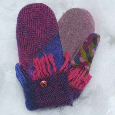 Recycled Wool Mittens – Royal and Fuchsia