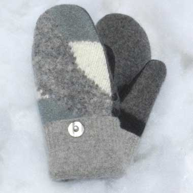 Recycled Wool Mittens –  Grey and White
