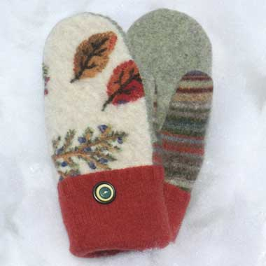 Recycled Wool Mittens - Off White With Embroidered Leaves and