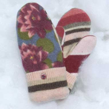 Recycled Wool Mittens – Mauve, Blue, Pink, & Green Floral Print