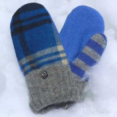 Recycled Wool Mittens – Royal Blue Plaid