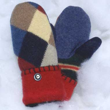 Recycled Wool Mittens – Blue, Tan, Red, and Yellow Checked Pattern