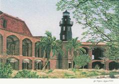 Fort Jefferson lighthouse on Garden Key, Florida