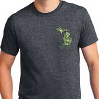 Dark Heather Tee with GeoCamo Design