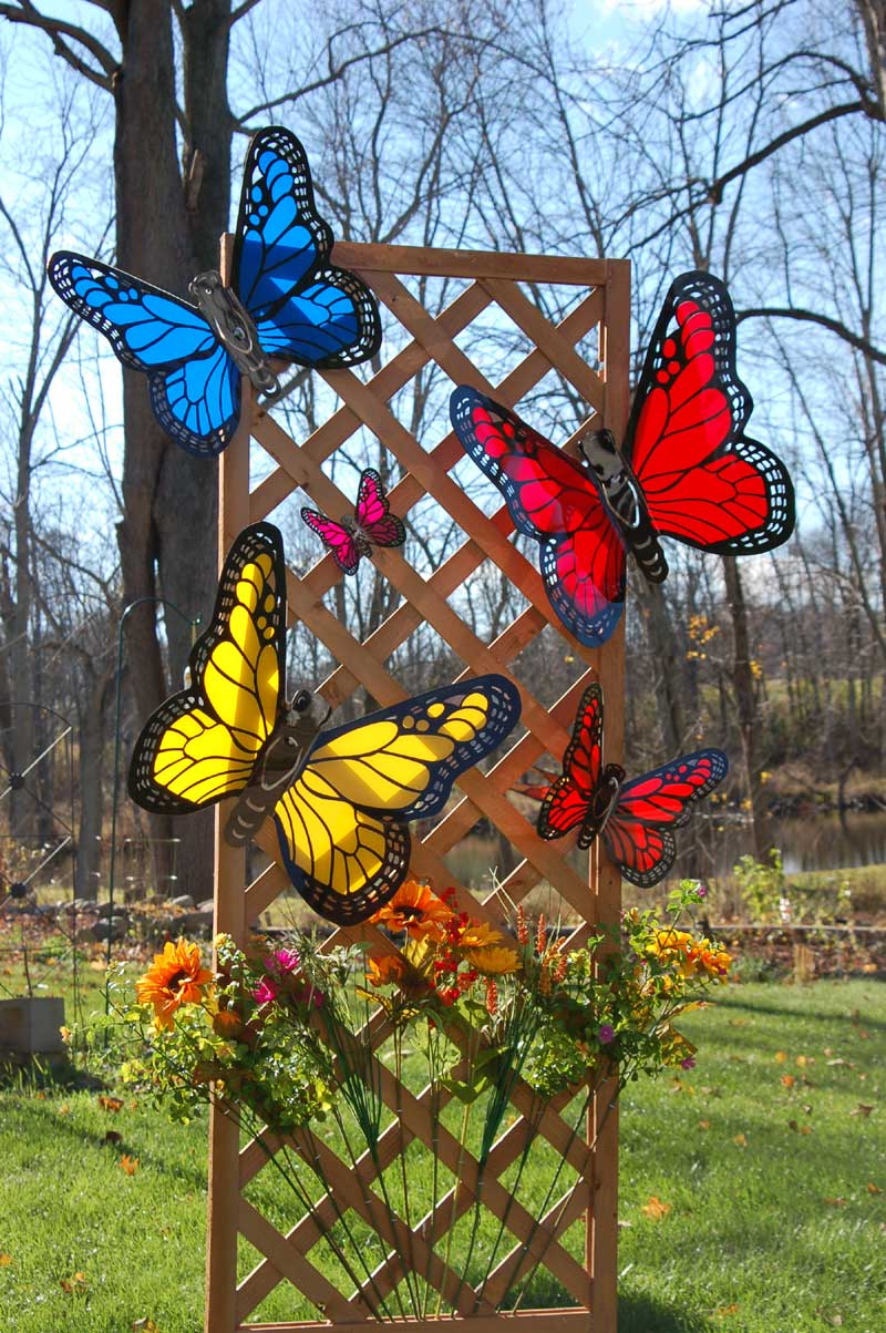 Acrylic Butterflies on Trellis