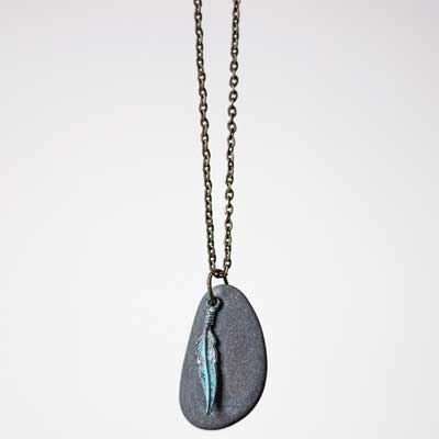 Lake Michigan Rock Necklace with Patina Feather Charm