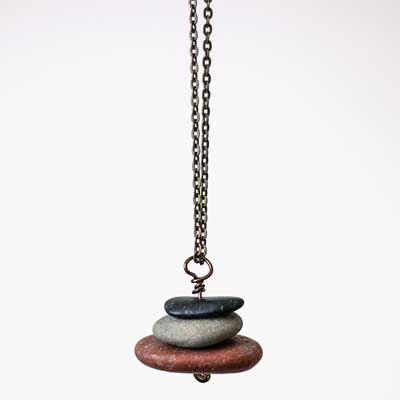 Lake Michigan Stacked Stone Necklace