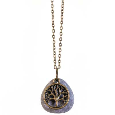 Lake Michigan Rock Necklace with Tree of Life Charm