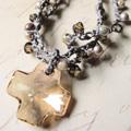Sandstones Beaded Crochet Cross Necklace