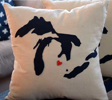 Great Lakes Michigan Pillow