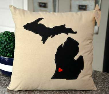 Black Michigan Pillow