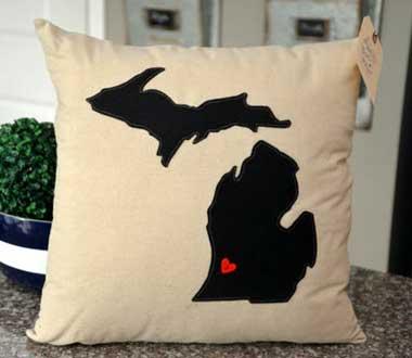 Black Michigan Pillow