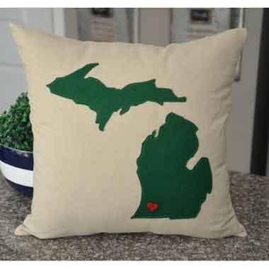 Dark Green Michigan Pillow