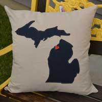 Navy Blue Michigan Pillow