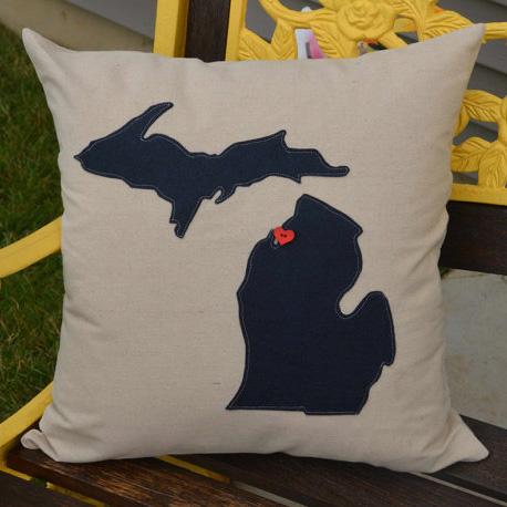 michigan pillow navy blue