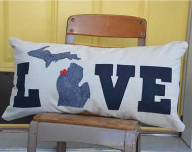 LOVE Michigan Lumbar Pillow