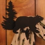 Bear Pine Tree Curtain Hook Iron Art