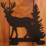 2 Hook Deer & Pine Tree Iron Hanger