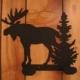 2 Hook Moose & Pine Tree Iron Hanger
