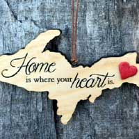 Home Is Where Your Heart Is UP Ornament with Red Heart