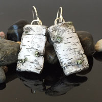 Hand Carved Rectangle Birch Clay Earrings