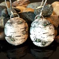 Hand Carved Round Birch Clay Earrings