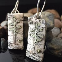 Hand Carved Tree Embellished Birch Clay Earrings