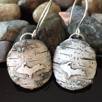 Hand Carved Upper Peninsula Embellished Birch Clay Earrings