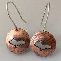 Copper Upper Peninsula Earrings