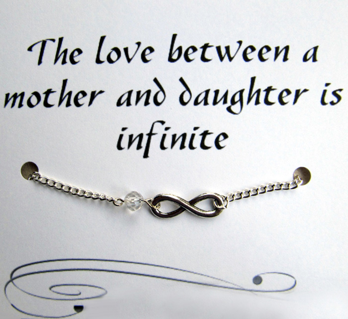 Mother And Daughter Infinity Charm Bracelet With Inspirational Quote Card