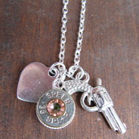 Bullet Necklace with Pistol Charm, Silver Heart and Swarovski Crystal Accent