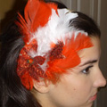 Red & White Feather Hair Band