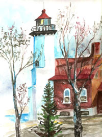Eagle Harbor Light, Michigan, Hand Signed Print, 8×10 print in an 11×14 matte