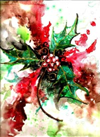 Snow Holly Hand Signed Print 8x10 in 11x14 matte