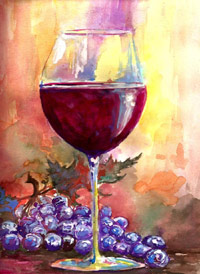 Wine Art In The Park Signed Print 8x10 in 11x14 matte