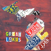 License Plate Art - Large Michigan Map