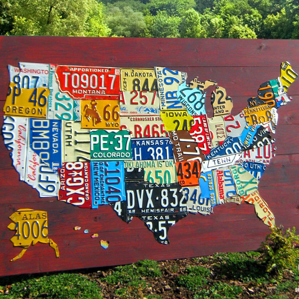 Us map with license plates