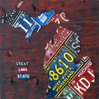 License Plate Art - Medium Michigan Map