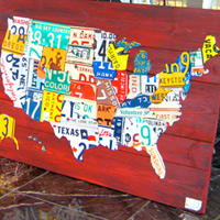 License Plate Art - Medium USA Map