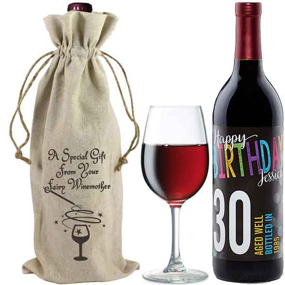 Little Red Wining Hood Linen Wine Bags