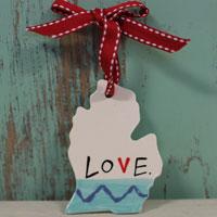 Love Michigan Ornaments