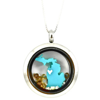 Michigan Locket with Heart
