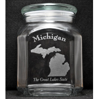 Laser Engraved Michigan Candy Jar