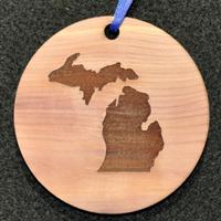 Engraved Michigan Aromatic Cedar Gift Tag / Ornament
