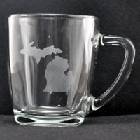 Laser Engraved Michigan Mug