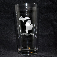 Laser Engraved Michigan Glass